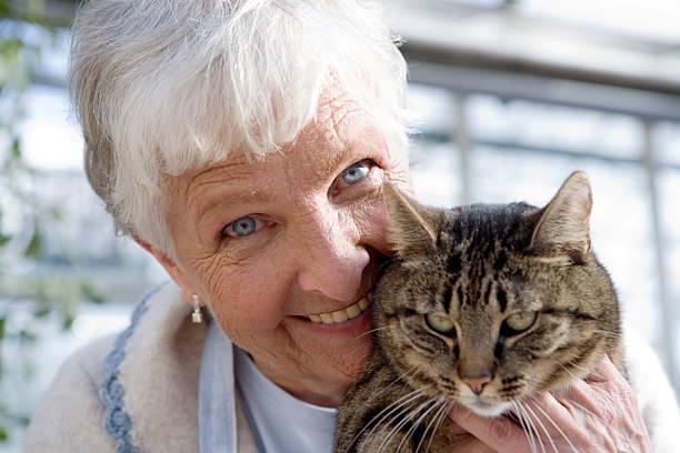 пожилая женщина с кошкой